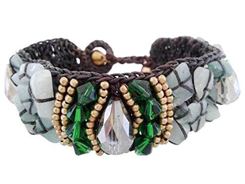Handmade Woven Wax Rope Wide Bohemian Beaded Cuff Crystal Hippie Bracelet for Teen Girl