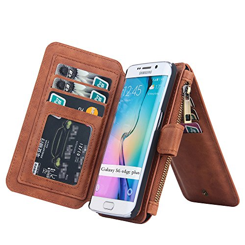RAYTOP 11-Slot Card Holders, Phone Cover Removable, S6 Edge+ Case, Wallet for Samsung Galaxy S6 Edge Plus, See-Through ID Slot, Button + Zip + Magnet Closure, Large Pocket for Money / Driving License