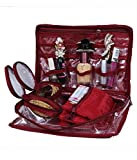Kuber Industries Jewellery Kit / Make Up Kit / Wedding Collection Gift / Vanity Box In Maroon Quilted satin Set of 2 Pcs