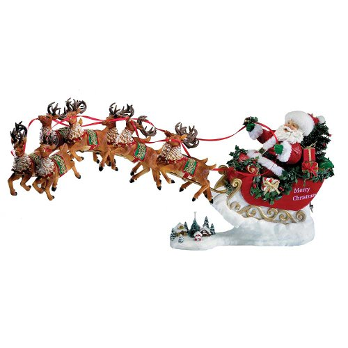 Kurt Adler 2-Piece Musical Santa with 8 Reindeers, 24-Inch by Kurt Adler