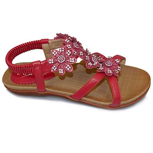 (LUNAR) Fantasia Boutique ® Ladies Diamante Flower Floral Front Comfortable Support Womens Fashion Sandals Red 4mmCIz