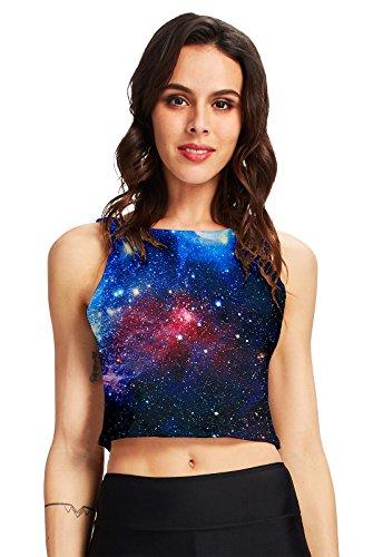 RAISEVERN Women's 3d Printed Crop Top Summer Casual Tank Tops, Galaxy Space, OS