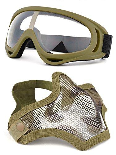 OUTGEEK Airsoft Half Face Mask Steel Mesh and Goggles Set (Khaki set)