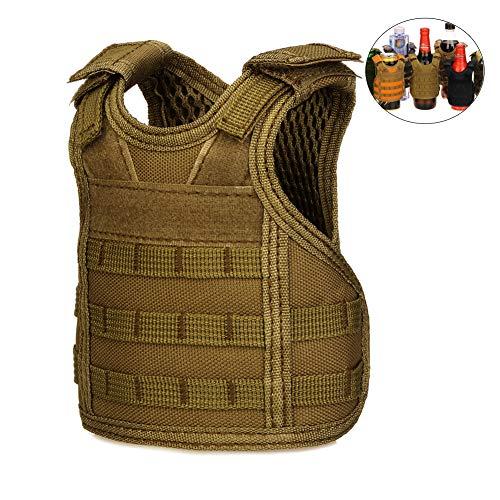 (CyberDyer Beer Vests Beverage Cooler Tactical Mini Molle Adjustable Beverage Holder for 12oz or 16oz Cans or Bottles (Khaki))