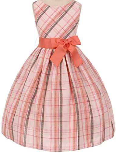 Tartan Plaid Cotton Dress Little Girl Special Occasion Dress Coral 6 (Collection Skirt Tea Cotton)