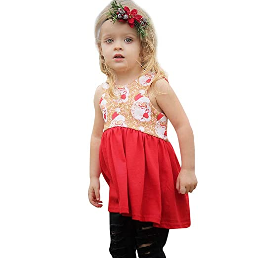 0886be050c53 Amazon.com  Toddler Kids Baby Girl 6 Months-4T Christmas Dress Santa Claus  Party Dresses Outfits Clothes  Clothing
