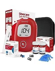 sinocare Bloedglucosemeter/bloedglucose Diabetescontrolekit met codefree strips en pijnloze lancetten en diabetische doos - in mg/dL (Safe AQ) (AQ Smart 50kits)