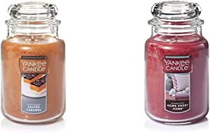 Yankee Candle Large Jar Candle Salted Caramel & Large Jar Candle Home Sweet Home