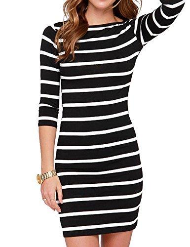 cee0607abe05 Genluna Women's 3/4 Sleeve Striped Bodycon Dress Casual Dresses(XS-XL)