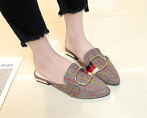 Toe Sandals Pointed Shoes Slippers Women's Loafers Gusha Closed Half Red Plaid Flat wXUfqdEd