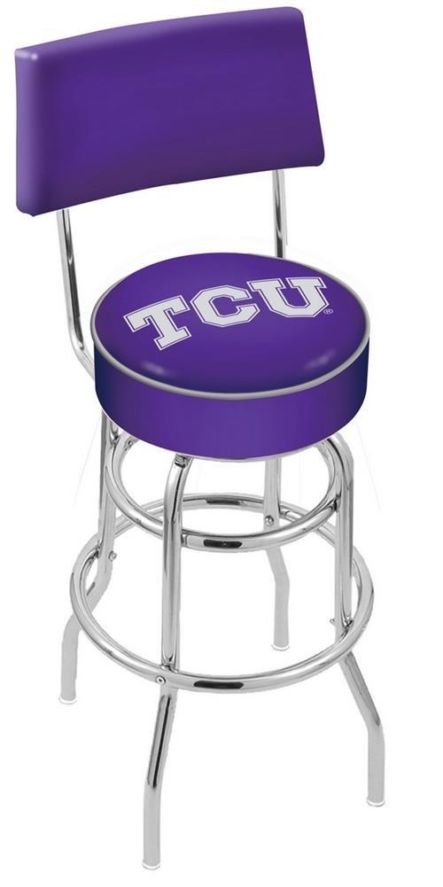 TCU Texas Christian Swivel Bar Stool With Back (25'' High) by Holland Bar Stool Co.