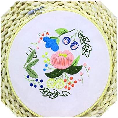 クロスステッチセット|花DIYリボン刺繍初心者の刺繍の練習キットクロスステッチ壁画アート家の装飾会うセット-23-15センチ-