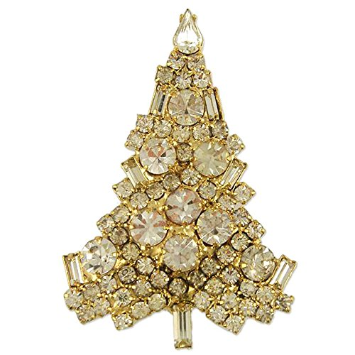 NEW CLASSIC CRYSTAL CHRISTMAS TREE BROOCH PIN MADE WITH SWAROVSKI ELEMENTS (gold-plated-base) - New Classic Elements