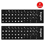 [2 pcs] Lapogy Universal English Keyboard Stickers, Computer Keyboard Stickers Black Background with White Large Lettering for Computer Laptop Notebook Desktop