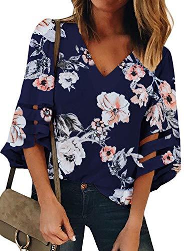 BLENCOT Women's Summer V Neck Mesh Panel 3/4 Bell Sleeve Tops Floral Loose Flowy Blouses Shirts Blue ()
