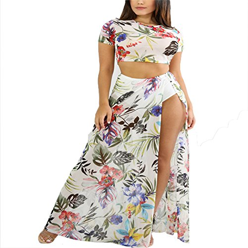 - Women Summer Floral Print Two Piece Outfits Bodycon Crop Top and Side Split Long Pants Set White