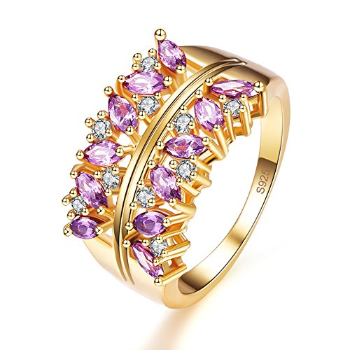 Veunora Graduation Gift Gold Plated 2x4mm Marquise Cut Amethyst Cluster Ring Band for Women Size 8