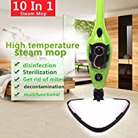 Floor Steamer Multifunction Mop 10 in 1 - Home Cleaning Kit - Ideal for Hardwood, Carpet, Marble, Kitchen and Bathroom Tiles - Easy and Smart Handheld Electric Surface Glider 1200W