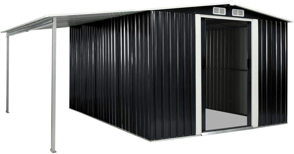 vidaXL Cobertizo Jardín Puertas Correderas Acero Seguridad Protección contra Intemperies Resistente Duradero Funcional Práctico Gris 386x312x178cm: Amazon.es: Bricolaje y herramientas