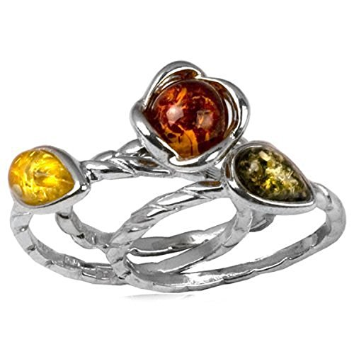 Sterling Silver Amber Flowers Wire Ring Set of Three, Ring Size 6