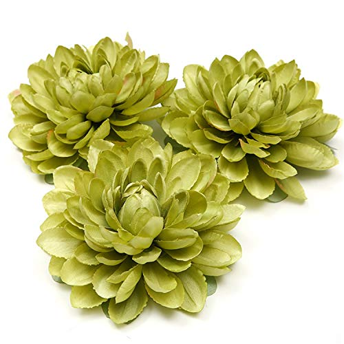 Romanly 1Pcs New Silk Dahlia Artificial Flower Head for Wedding Party Decoration DIY Flower Wall Headdress Brooch - Amethyst Brooch Flowers
