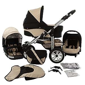 Chilly Kids Matrix Lancer 3 in 1 Cochecito Combinado (asiento del coche, cubierta para la lluvia, mosquitero, ruedas giratorias 14 colores) 24 negro & beige