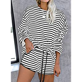 Arainlo Women's Tie Dye Printed Sleepwear Lounge Long Sleeve Pajama Set Night Shirt with Shorts