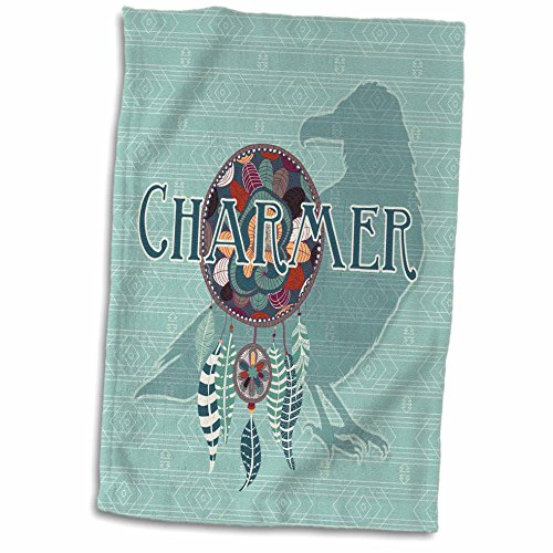 American Native Dishes (3D Rose Raven Crow Native American Animal Spirit with Dream Catcher Charmer Hand Towel, 15