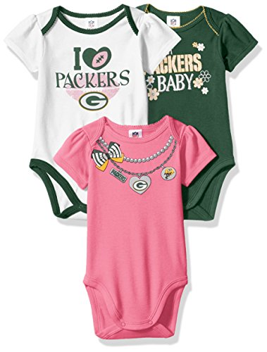 NFL Green Bay Packers Girls Short Sleeve Bodysuit (3 Pack), 0-3 Months, Pink Nfl Green Bay Packers Short