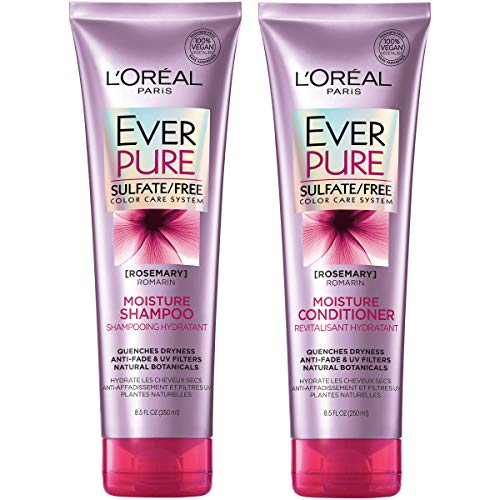 L'Oreal Paris Hair Care EverPure Moisture Sulfate Free Shampoo & Conditioner Kit for Color-Treated Hair, Moisturizes + Replenishes Dry Hair, (8.5 fl. oz. each) (Best Color Treated Shampoo And Conditioner)
