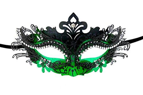 Masquerade Mask 20s Flapper accessories Metal Rhinestone Venetian Ball Mask Halloween Cosplay (1920s Halloween Ball)