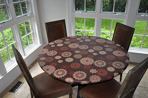 Elastic Edged Flannel Backed Vinyl Fitted Table Cover - MEDALLION Pattern - Small Round - Fits tables up to 44