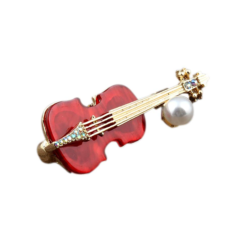 MoGist Violin Brooch Men's Suit BadgeJewellery Suit Shirt Wedding Gift (Red)