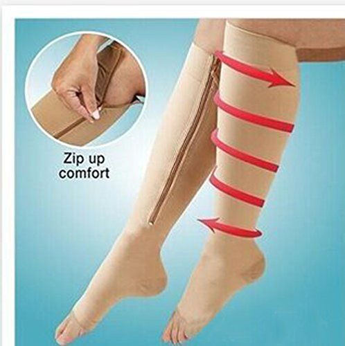 Thinkmax Stovepipe Fat Burning Anti-Varicosity Shaping Elastic Yarn Zipper Pressure Socks Small Size Fleshcolor