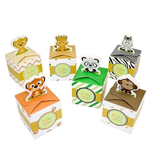 Amelyfavor Safari Animal Wild Theme Favor Box Baby Shower Candy Box 24 pcs