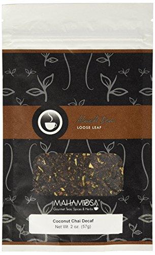 Mahamosa Coconut Chai Decaf 2 oz - Decaffeinated Black Tea Loose Leaf (with ginger root, cinnamon, shredded coconut and ginger, coconut and vanilla flavor), Dessert Tea (Vanilla Tea Loose Leaf Mahamosa)