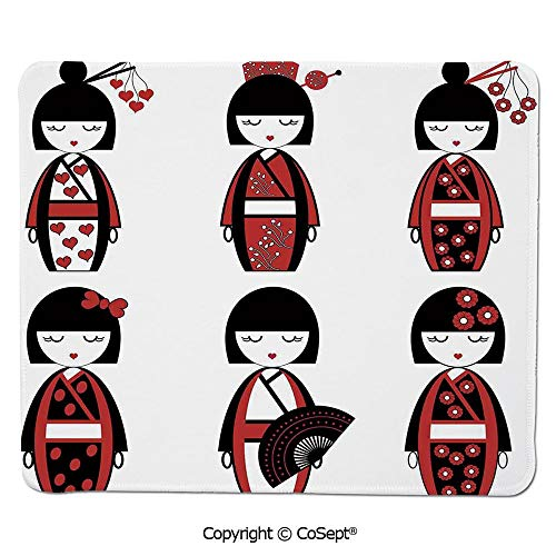Premium-Textured Mouse pad,Unique Asian Geisha Dolls in Folkloric Costumes Outfits Hair Sticks Kimono Art Image,Water-Resistant,Non-Slip Base,Ideal for Gaming (11.81