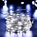 Qedertek Solar Fairy Lights 33ft 100 LED Copper Wire Fairy String Lights Indoor/Outdoor Solar Starry Lights for Garden Patio, Fence, Home, Wedding, Party (Cool White)
