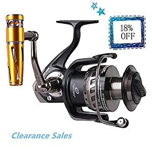 Noeby Saltwater Trolling Spinning Reel Full Metal Body Heavy Duty Jigging Fishing Reel with Gear Ratio 4.1:1 Left/Right Interchangeable Collapsible Handle Deep Sea Reel (30KG Max Drag)