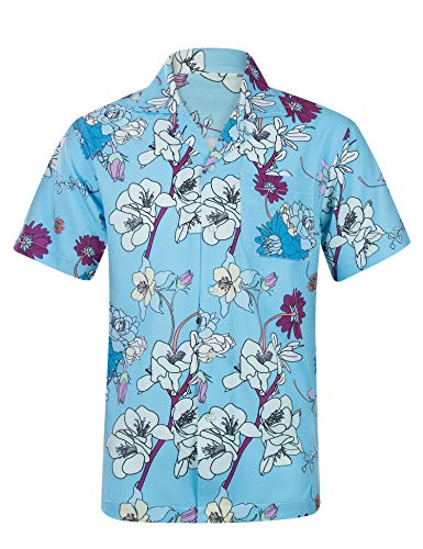 Mens Hawaiian Shirts Cotton Casual Flower Button Down Short Sleeve Beach Shirt - M Sky