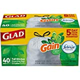 Glad OdorShield Tall Kitchen Drawstring Trash Bags - Gain Original with Febreze Freshness - 13 Gallon - 40 Count