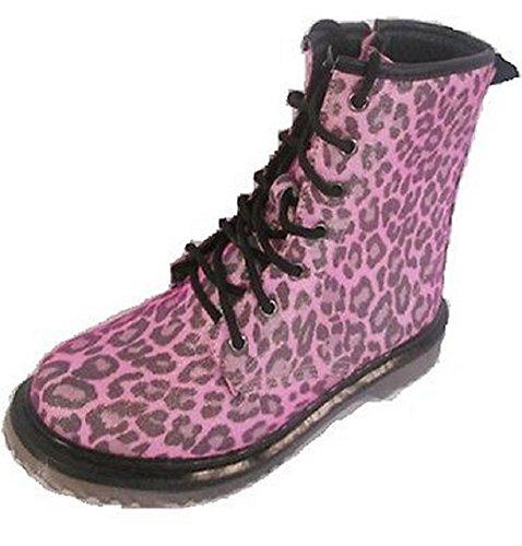 Koo-T - botas estilo motero chica leopardo rosa