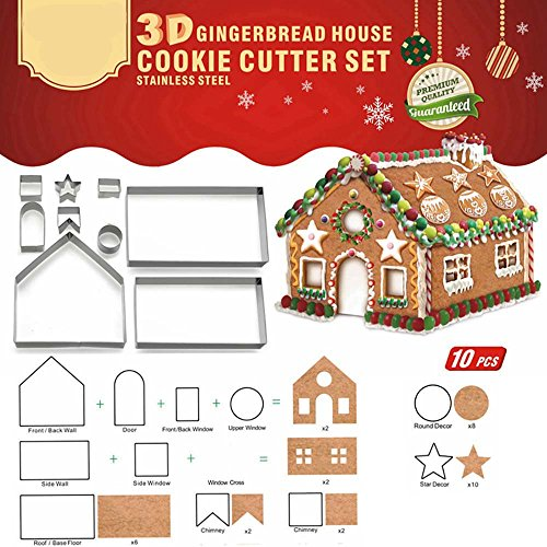 (Clearance Tuscom Stainless Steel Christmas Gingerbread House Mould,for Cake Biscuit Cookie Baking Pastry (Multicolor) )