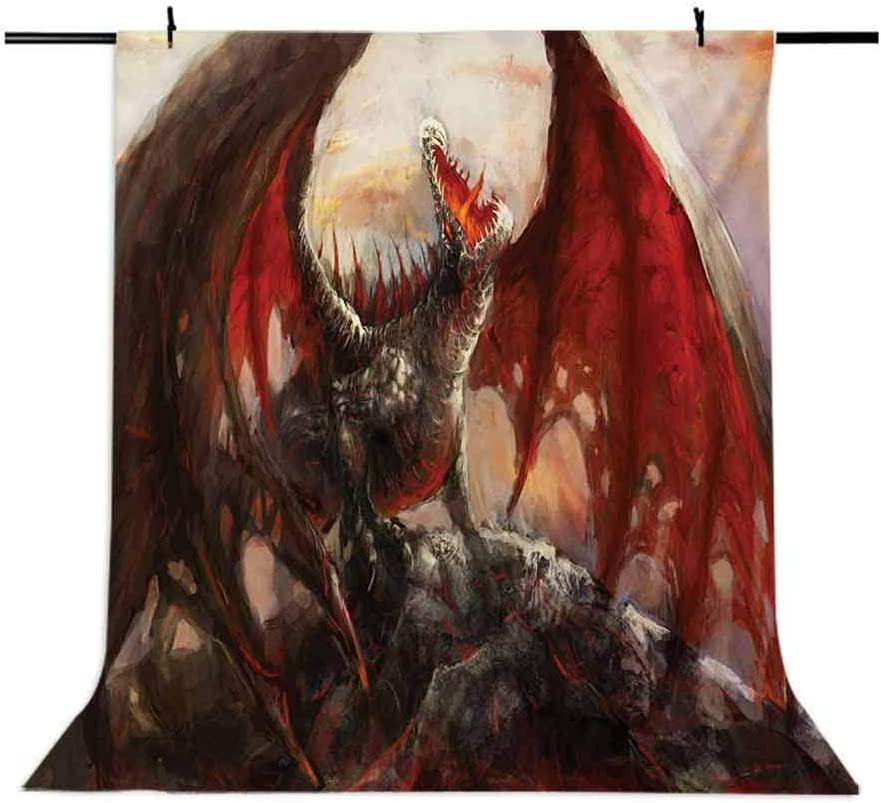 Fantasy World 10x15 FT Photography Backdrop Majestic Dragon Resting on Mountain Mythological Fire-Spewing Creature Print Background for Child Baby Shower Photo Vinyl Studio Prop Photobooth Photoshoot