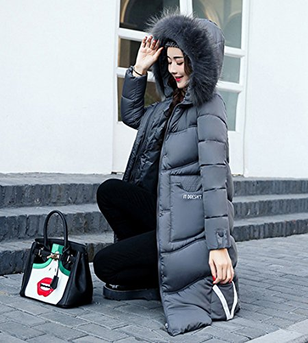Hooded Warm Overcoat Jacket Parka Grigio Long Coat Down Addensare Bigood Womens 7W4Swqq5H