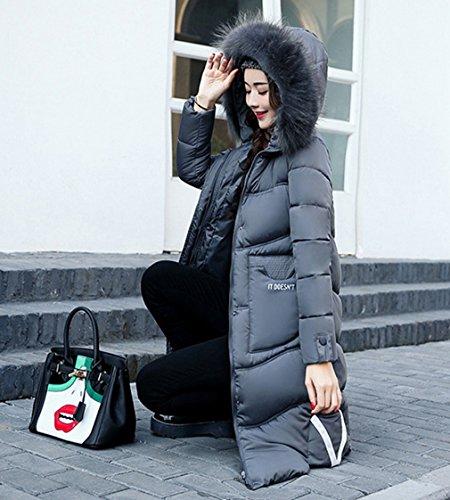 Jacket Overcoat Warm Bigood Addensare Down Hooded Long Coat Grigio Womens Parka xFTxPY