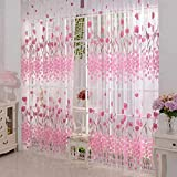 200 cm x100 cm Window pink Curtain Door Tulle Voile Room Balcony Sheer Panel Curtain