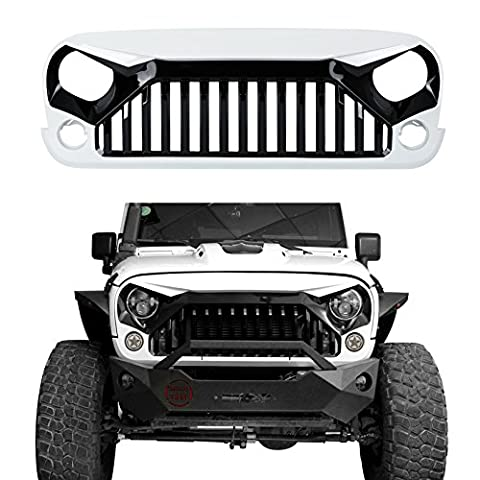u-Box Front Gladiator Vader Grille in Gloss Black/Painted White for 2011-2017 Jeep Wrangler JK & Wrangler Unlimited (W7 Paint Code,Bright (2013 Jeep Parts)