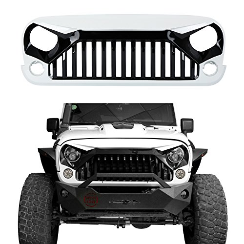 u-Box Front Gladiator Vader Grille in Gloss Black/Painted White for 2011-2017 Jeep Wrangler JK & Wrangler Unlimited (W7 Paint Code,Bright White)