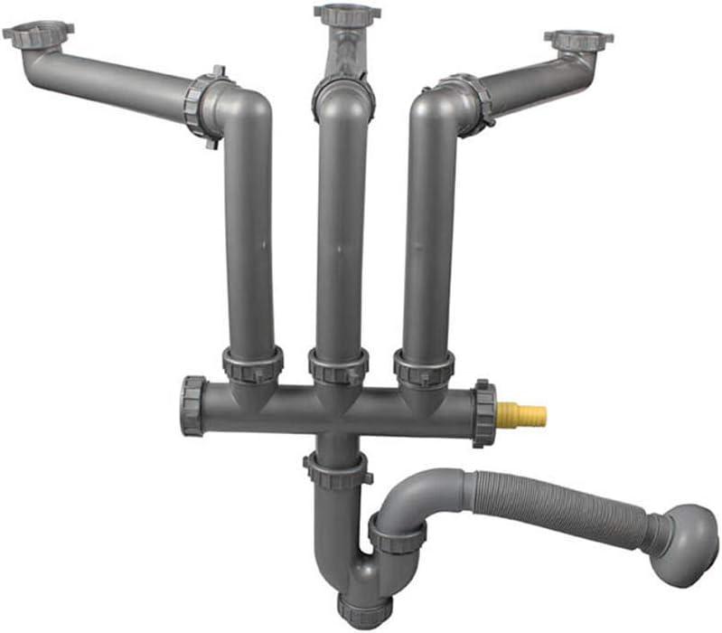 Talea Three Kitchen Sinks Drain Pipe Kit Flexible Drain Pipe Rear Hard Tube